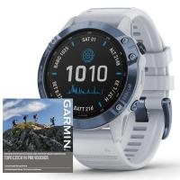 GARMIN FENIX 6 PRO Solar, Titanium Blue/White Band (MAP/Music)